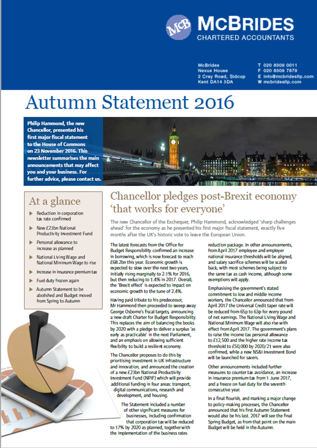 McBrides commentary on 2016 Autumn Statement image